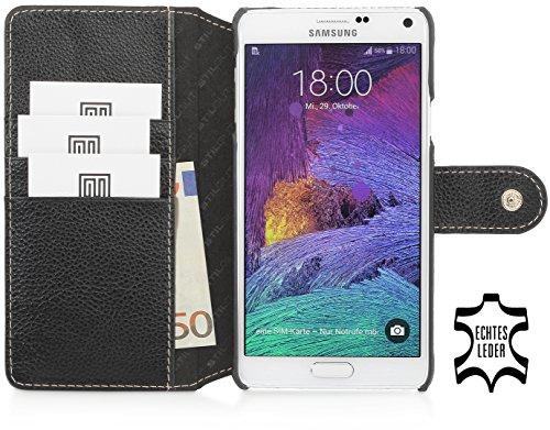 StilGut Talis mit Druckknopf, Hülle aus Leder mit Kreditkartenfach für Samsung Galaxy Note 4, schwarz