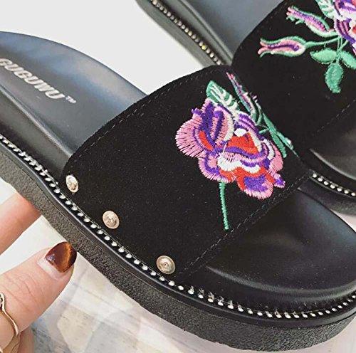 Ballerine Donne 35 di Cuoio Pantofole Cuoio scrub il Eu scrub di casual Scarpe Formato black Cool spiaggia da piede 39 Scarpe Ricamo Aprire Pantofole 81Yq5wX