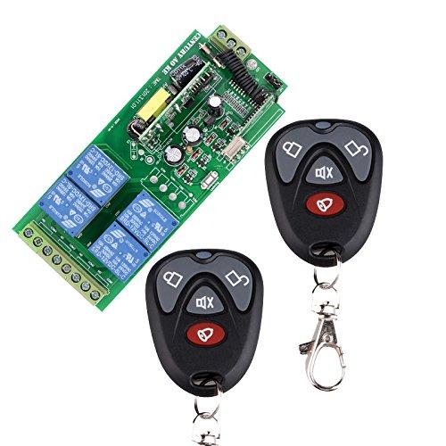 lejin 85V ~ 250V 110V 220V 230V 4canaux RF sans fil télécommande radio Relais Interrupteur récepteur radio de Système de Sécurité de portes de garage télécommande Interrupteur