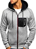 BOLF Herren Kapuzenpullover Hoodie Sweatjacke Pullover Sweatshirt J.Style J17 Grau L [1A1]