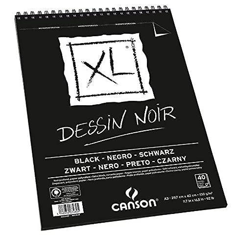 Canson - XL - Bloc spirale Dessin noir - A3 - 40 feuilles Noires - 150 g/m²