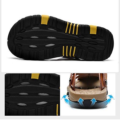 Sandalen mit Beweglich Geschlossene amp;W Braune Herren Zehe H Fesselriemen Leder wxv4YA