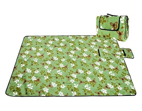 Honeystore Flanell Wasserdichte Yoga Matte Strand Ausflug Picknickdecke Mit Tragegriff 200*200 CM Grün Lilie