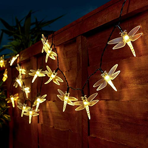 Guirlandes Lumineuses 5 Mètres 50 LEDs à Piles Intérieur/Extérieur - Couleurs et Formes au Choix - Minuterie/Timer Intégré par Festive Lights (Blanc Chaud, Libellule)