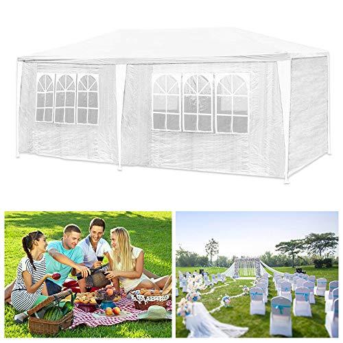 Hg® 3x6m pavilion polietilene costruzione in acciaio pieghevole padiglione spiaggia giardino tenda da festa impermeabilizzazione incl. 6 lati smontabili camping festival come riparo e telone bianco