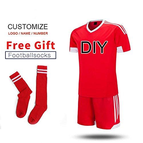 World Cup Neue Kinder Fußball Jerseys Jungen Fußball Kleidung Sets Kurzarm Kinder Fußball Uniformen Kinder Fußball Trainingsanzug Jersey, Red DIY, 140-150 cm (Fußball Diy Kostüme)