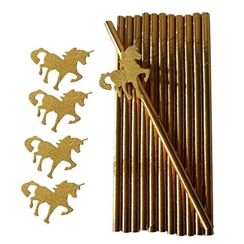 Sharplace 25Stk Papier Strohhalme Trinkhalme mit Einhorn Abziehbild Party Papier Geschirr Kinder Geburtstag Getränke Dekor - Gold (Weihnachten Papier Geschirr)