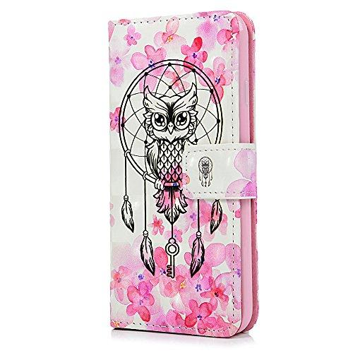 MAXFE.CO Schutzhülle Tasche Case für iPhone 7/iPhone 8 PU Leder Flip Tasche TPU Ihnnen Schale Gemalt Cover 3D Design im Ständer Book Case / Kartenfach Pink Blumen Traumfänger