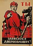 Poster Vintage-Stil Sowjetunion Propaganda, russischer Text (Schreiben Sie sich als Freiwilliger ein), 1921, Dmitrij Moor, 250g/m², A3, glänzend, Kunstdruck, Reproduktion