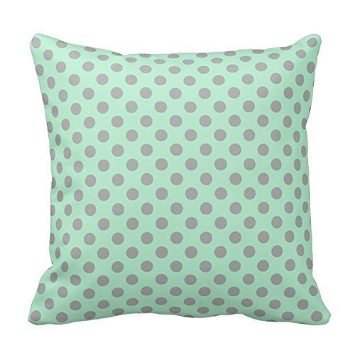 DEFFWBb Personalized 18X18 Inch Square Cotton Pillowcases Mint Green Gray Girly Modern Polka Dots Pattern Throw Pillow Covers Polka Rose Square