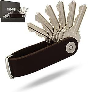 Porte clé Organiseur Compact en Cuir par thorkey - Fabriqué en cuir de qualité Durable - Mécanisme de verrouillage de sécurité - jusqu'à 8 clés et outils - Porte-Clés Décapsuleur inclus