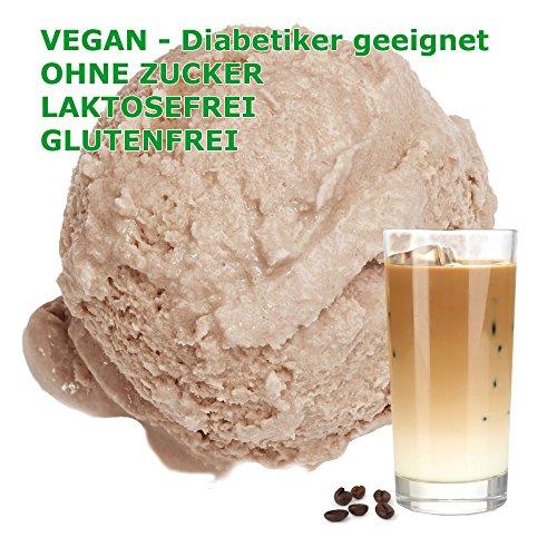 1 Kg Eiskaffee Geschmack Eispulver VEGAN - OHNE ZUCKER - LAKTOSEFREI - GLUTENFREI - FETTARM, auch für Diabetiker Milcheis Softeispulver Speiseeispulver Gino Gelati