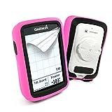 Tuff-Luv Doble caja de la piel protectora capa de silicona Doble Doble para Garmin Edge 820 - Rosa / Blanco