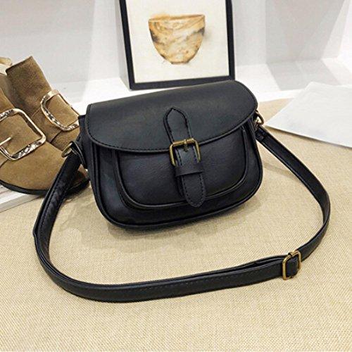 BZLine® Frauen Shoulder Bag Small Women's Handbag Vintage Schultertasche Bag Schwarz