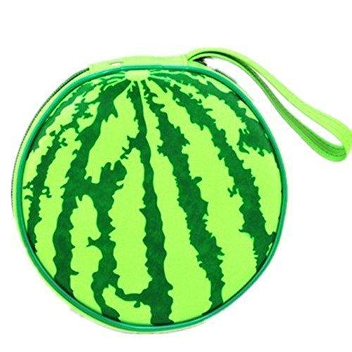 Stilvolle und einzigartige Tasche Wassermelone Form tragbare Runde 24 CD Disc Storage Case Bag Heavy Duty CD/DVD Brieftasche für Zuhause (schwarz) (Nette Cd-hüllen)