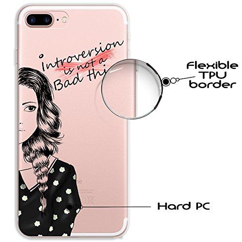 iPhone 7 Plus Hülle, WoowCase® [ Hybrid ] Handyhülle PC + Silikon für [ iPhone 7 Plus ] Französische Bulldogge Tier Mehrfarbige Design Handytasche Handy Cover Case Schutzhülle - Transparent Hybrid Hülle iPhone 7 Plus H0001