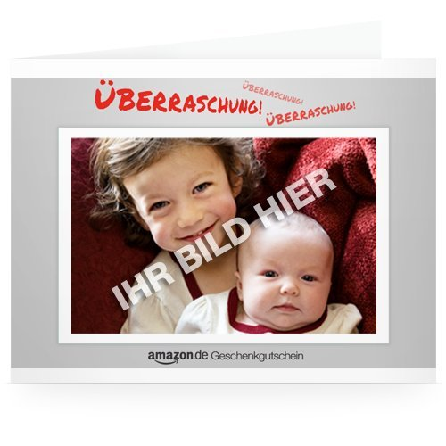Amazon.de Gutschein zum Drucken mit eigenem Foto (Überraschung!)