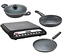Prestige Induction Cooktop PIC 20.0 with Omega Deluxe Granite BYK set 3 Pc Set