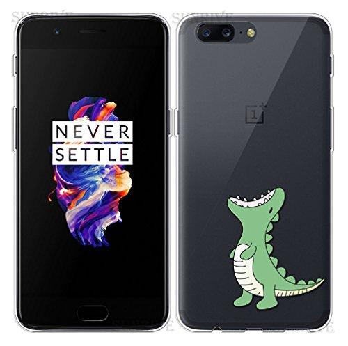 Funda Para OnePlus 5, Sunrive® Silicona Funda Slim Fit Gel Transparente Carcasa Case Bumper de Impactos y Anti-Arañazos Espalda Cover(tpu Dinosaurio) + 1 x Lápiz óptico