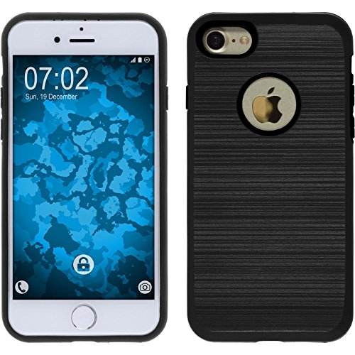Coque Hybride pour Apple iPhone 7 - brushed Case noir - Cover PhoneNatic Cubierta + films de protection noir