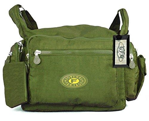 Da donna GFM resistente misura media multiuso Tessuto in Nylon borsa a tracolla .Style 3 - Olive Green (GHJTN05)