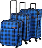 travelite Campus 4-Rad Trolley-Set 3-tlg 20 karo blau