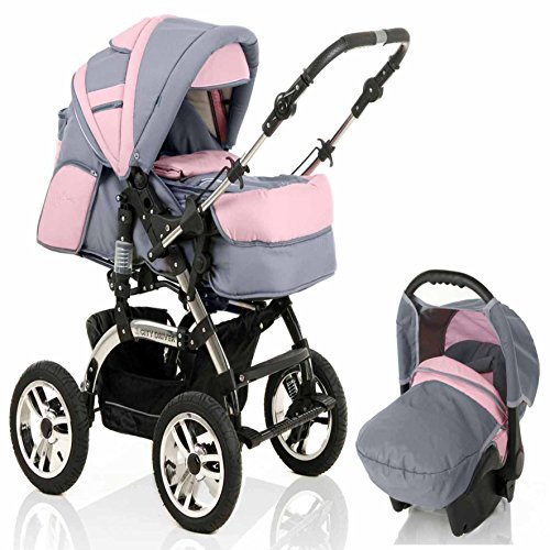 "16 teiliges Qualitäts-Kinderwagenset 3 in 1 ""CITY DRIVER"": Kinderwagen + Buggy + Autokindersitz - Megaset - all inclusive Paket in Farbe GRAU-ROSA"