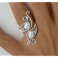 Draht, Gewickelt Ringe, Handgemachter silberner Draht wickelte Schmucksache - Perlmutter Blattes  und Draht Silber