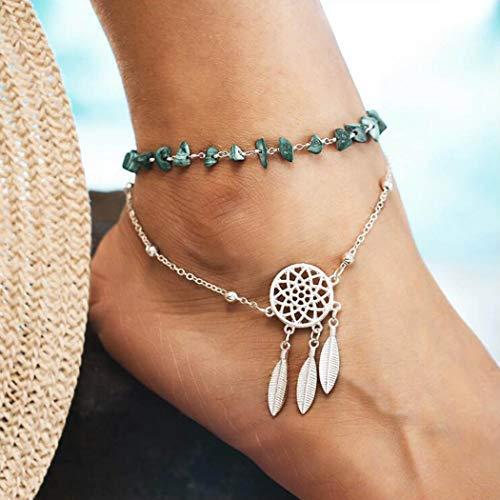 Yean tobillera de plumas turquesa atrapasueños pulsera de tobillo moda plata pie joyería cadena para mujeres y niñas