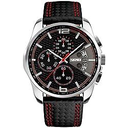 Voeons Men's Quartz Analogue Chronograph Waterproof Watches Black Metal Leather Sports Watch 9106