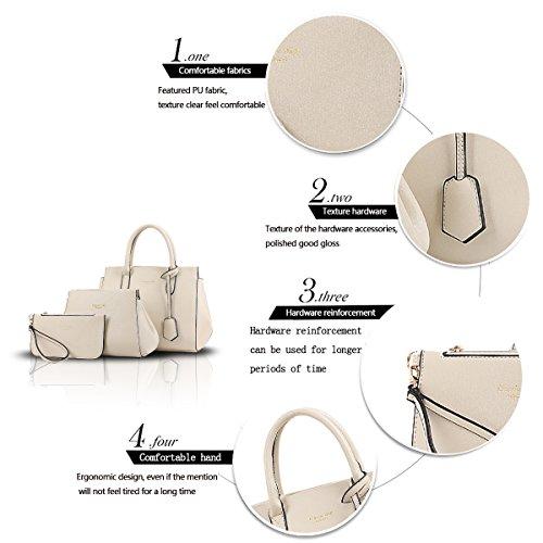 Sunas La nuova borsa di modo delle donne retrò 3 insiemi del raccoglitore del sacchetto di spalla del sacchetto femminile del sacchetto bianco crema