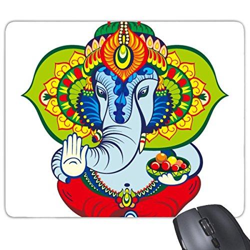 Indien Geschmack Hinduismus Religion Elefant und Lotus Flower Pattern Illustration Rechteck rutschfeste Gummi Mauspad Spiel Maus Pad