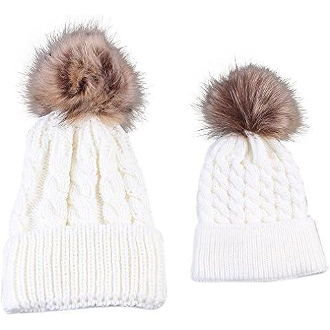 POTOBrand, mamá y bebé que hace punto mantenga caliente sombrero (Blanco)