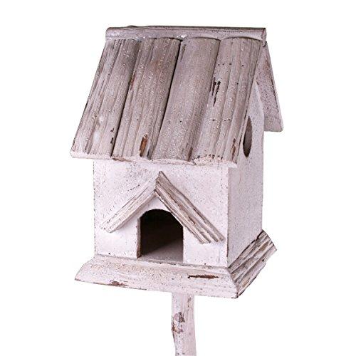 Holz Vogelhaus mit Pfahl im Shabby Look weiß gebürstet