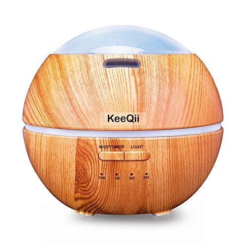 KeeQii Humidificador Aromaterapia Ultrasónico, Difusor de Aceites Esenciales 150ml, 8-Colores LED Resplandeciente y Hermoso con dibujos, Seguro y Elegante, 3-Ajuste de Tiempo Fijo, Auto-Apaga, Purificar el Aire y Mejorara el Aire Seco.