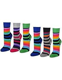 6 oder 12 Paar Damensocken Baumwolle Ringel ohne Naht Damen Socken Geringelt - 11979 - sockenkauf24