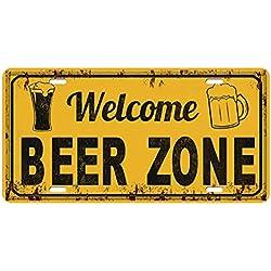 FLAMEER Cartel de Chapa de Metal Placa de Mostrar Plantilla de Colgante de Cafetería Bares Restaurantes - Zona de Cerveza