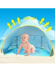 Tente de Plage Anti UV pour Bébé Enfant,Oummit Abri de Plage Pop-up Tente Pliable et Portable avec Protection du Soleil Parfait Pour Faire du Camping,Voyage sur Plage. (Bleu)