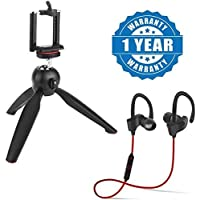 Drumstone 228 Mini Tripod Stand for Action and Photo Cameras and Smartphones with QC10 Jogger Bluetooth Headphones (Multicolour)