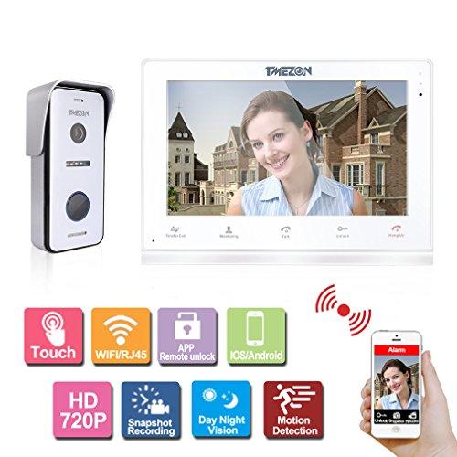 TMZZON 10 Zoll Touchscreen Wireless/Wifi Smart IP Video Türsprechanlage Türklingel Intercom Entry System mit 1x720P HD Wired Kamera Nachtsicht, Unterstützung Remote Entriegelung, sprechen, Aufnahme, Snapshot über Smartphone Wireless Türklingel Kamera Video