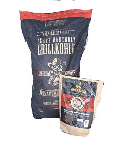 Charcoal Cowboys 15 Kg Steakhousekohle inkl. 50 Stück Öko Anzünder, Reines Quebracho Holz- Perfekte Restaurantqualität-Reach-registrierte Holzkohle Grillkohle (Cowboys Holzkohle)