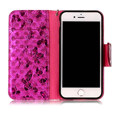iPhone 7 Hülle, SHUNDA Brieftasche Schutzhülle Flip Leder Handyhülle mit Kippständer Bling Schmetterling Bookstyle Handycover für iPhone 7 / iPhone 8 - Golden Hot Rosa