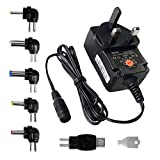 Chargers Power Adapters Best Deals - ZOZO™Universal 12W 3V 4.5V 5V 6V 7.5V 9V 12V 1A 1000mA Regulated Multi Voltage Switching Replacement Power Supply Adapter Charger PSU for Household Electronic Devices Routers Speakers LCD CCTV Cameras TV box and USB Power Charging Devices and Smart Phone