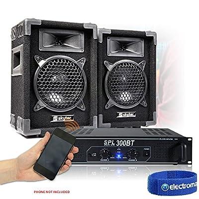 "2x Skytec MAX 6"" Disco Hi-Fi Speakers SPL-300BT Bluetooth Amp + Cables 250W"