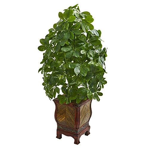 Nearly Natural 8230 Schefflera Kunstpflanze (Real Touch) Seidenpflanzen, grün