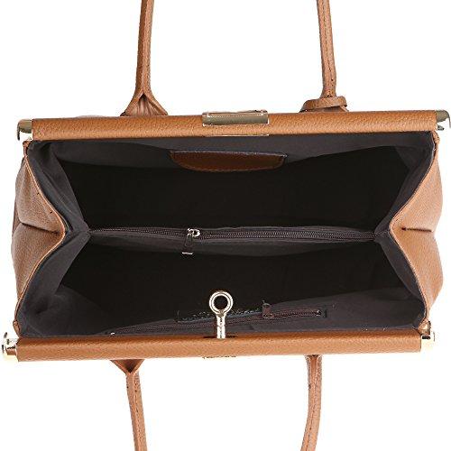 Chicca Borse Handbag Borsa a Mano da Donna con Tracolla in Vera Pelle Made in Italy 35x28x16 Cm Marrone Falso Barato De Venta Original Vendible wViBPOIkn