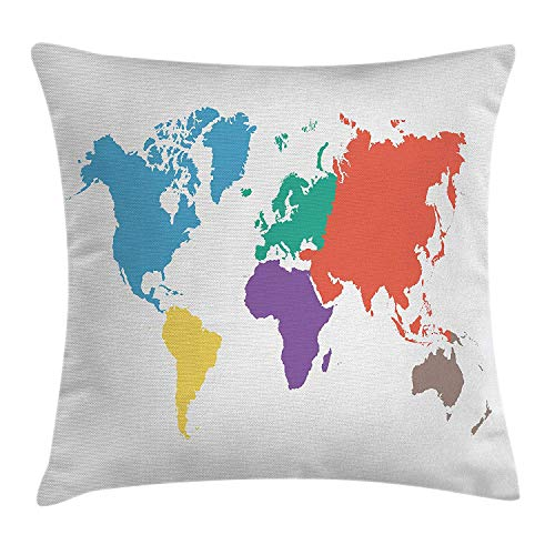 BUZRL Map Throw Pillow Cushion Cover, Continents of The World in Regions Lands Global International Theme, Decorative Square Accent Pillow Case, 18 X 18 inches, Multicolor