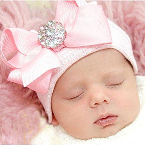 DRESHOW-3-Pcs-Newborn-Hospital-Hat-Infant-Baby-Hat-Cap-Big-Bow-Soft-Cute-Knot-Nursery-BeanieOne-Size