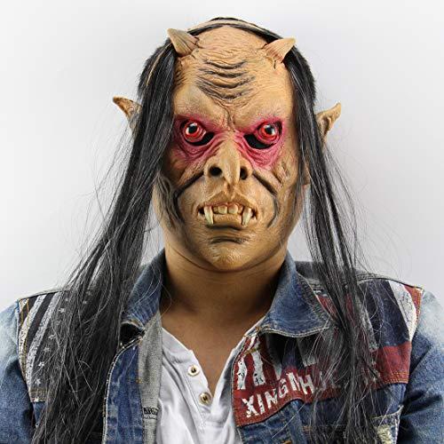 WUYEA Halloween Horror Masken Latex Volles Gesicht Monsterkopfmaske mit Rote Augen und Gary Haar für Halloween Party Kostüm