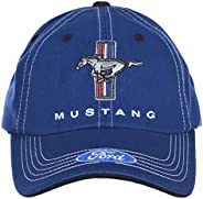 Checkered Flag Men's Ford Mustang Cap Tri-Bar Pony Adjustable Blue